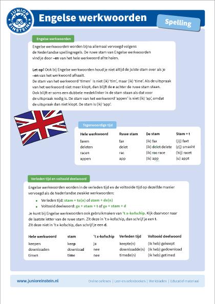Geliefde Engelse werkwoorden Groep 7, 8 @LO15