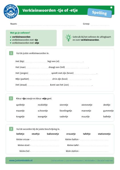 Nieuw Verkleinwoorden met -tje of -etje [1] MN-16