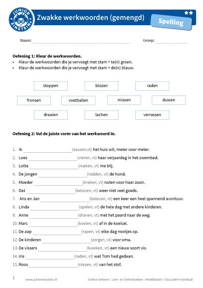 Populair Zwakke werkwoorden (gemengd) #PR52