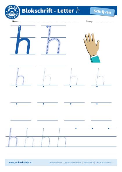 Nieuw Werkblad letter h tussen schrijflijn LG-51