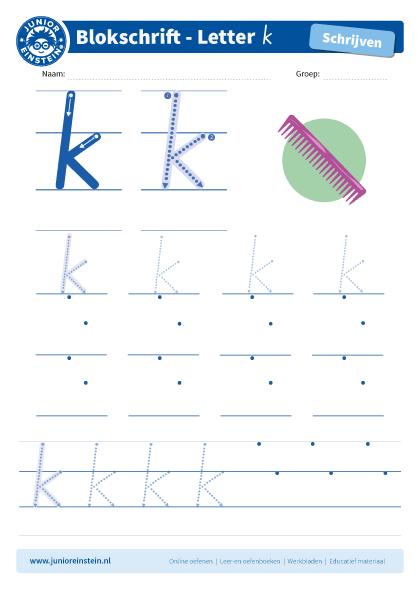 Onwijs Werkblad letter k tussen schrijflijn CQ-72
