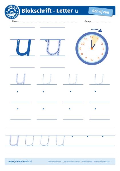 Geliefde Werkblad letter u tussen schrijflijn #BV72
