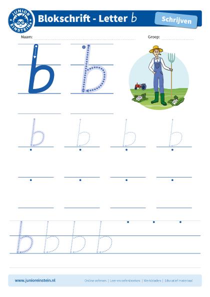 Betere Werkblad letter b tussen schrijflijn FB-28