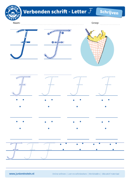 Welp Werkblad letter F tussen schrijflijn OR-53