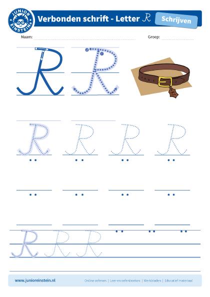 Uitgelezene Werkblad letter R tussen schrijflijn HU-79